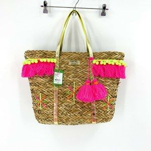 Lilly Pulitzer Natural Straw Baja Unlined Tote